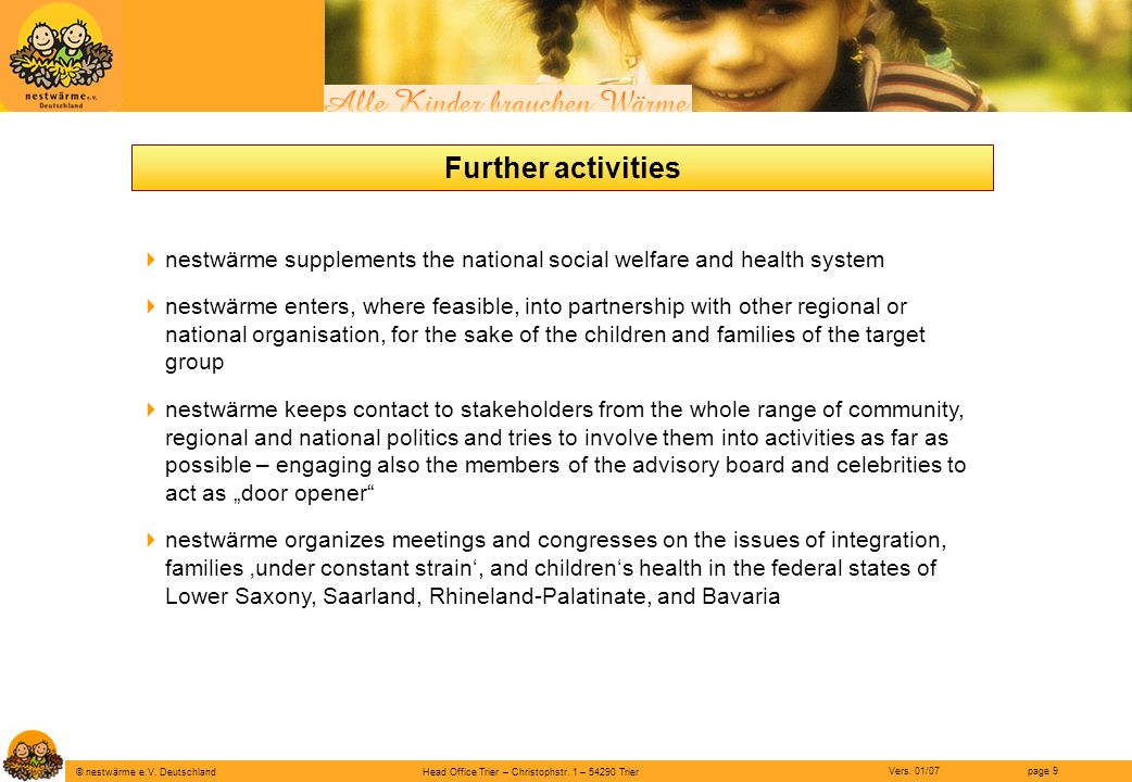Further activities nestwärme supplements the national social welfare and health system.