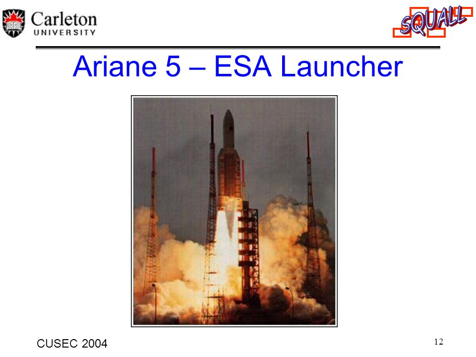 Ariane 5 – ESA Launcher This is the take-off of flight 501, French Guyana, 1996.