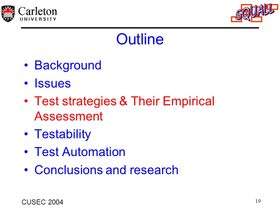 Outline Background Issues Test strategies & Their Empirical Assessment
