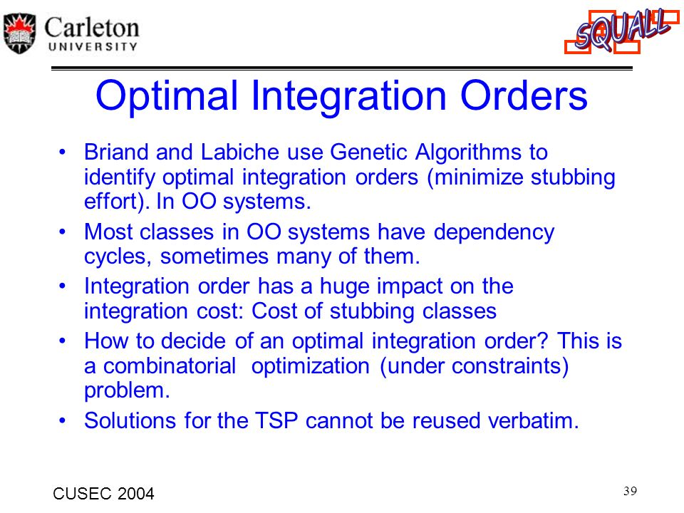 Optimal Integration Orders