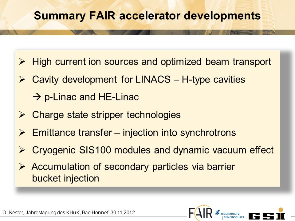 Summary FAIR accelerator developments