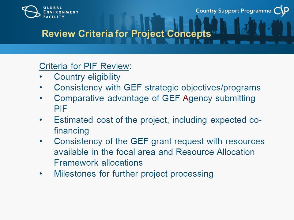 Review Criteria for Project Concepts