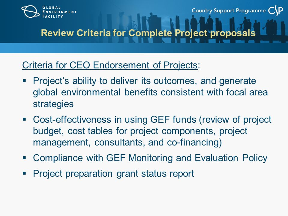 Review Criteria for Complete Project proposals