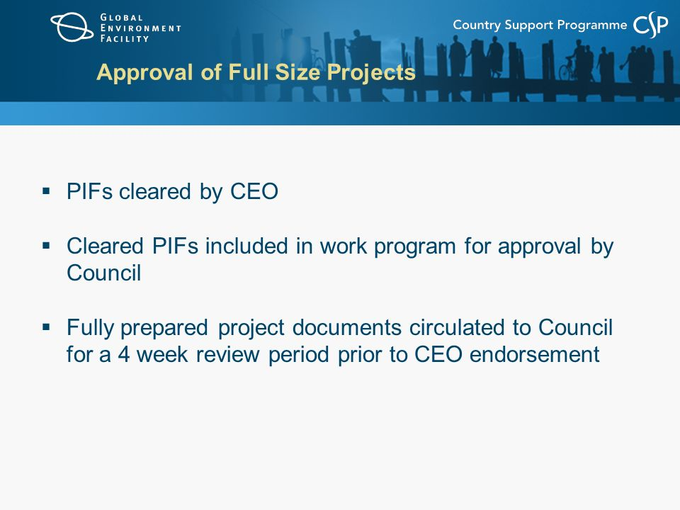 Approval of Full Size Projects