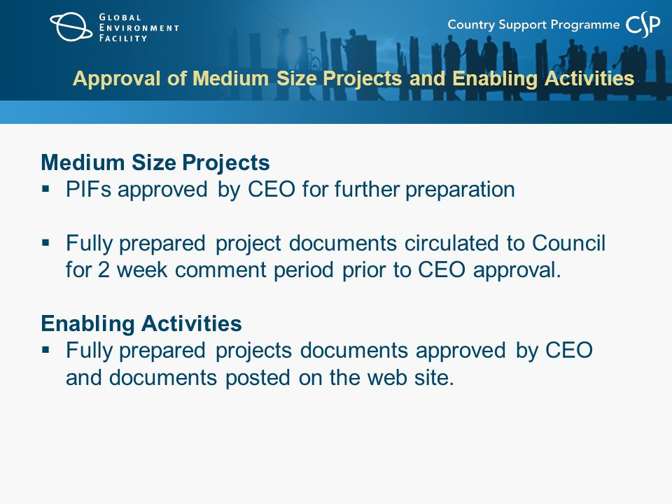 Approval of Medium Size Projects and Enabling Activities