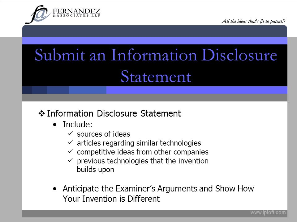 Submit an Information Disclosure Statement