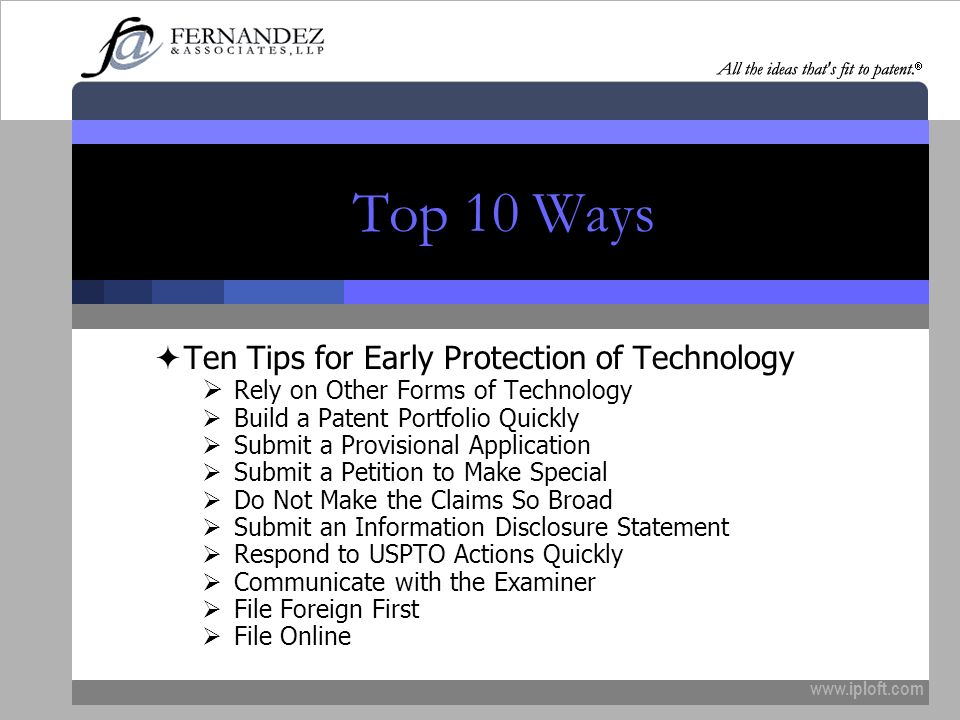 Top 10 Ways Ten Tips for Early Protection of Technology