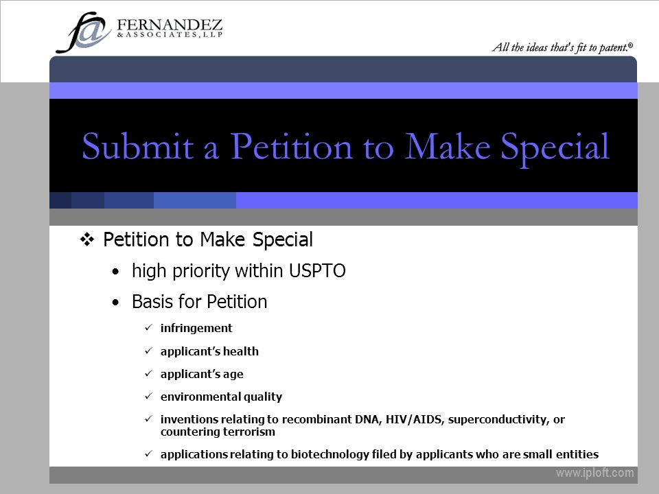 Submit a Petition to Make Special