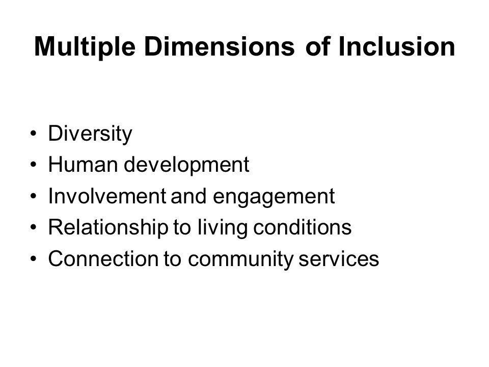 Multiple Dimensions of Inclusion