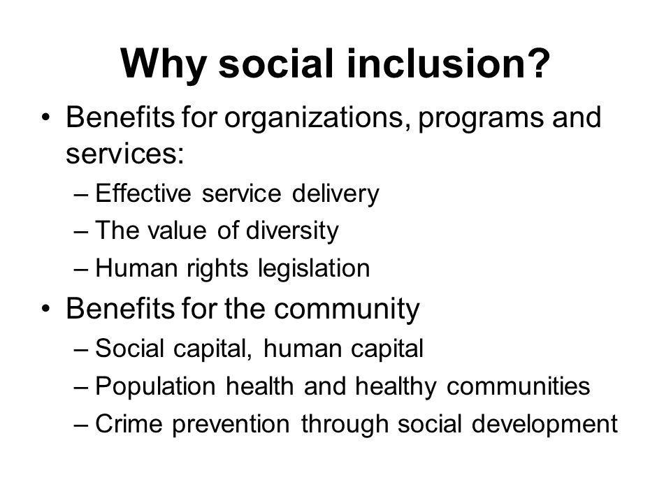 Why social inclusion Benefits for organizations, programs and services: Effective service delivery.