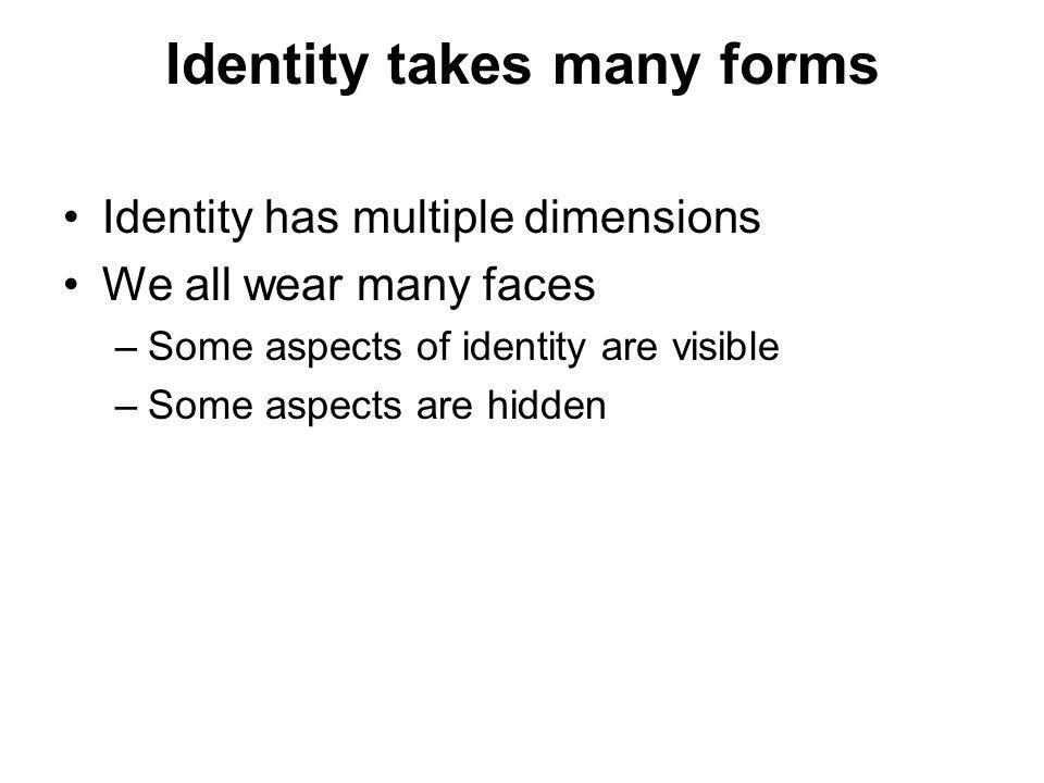 Identity takes many forms
