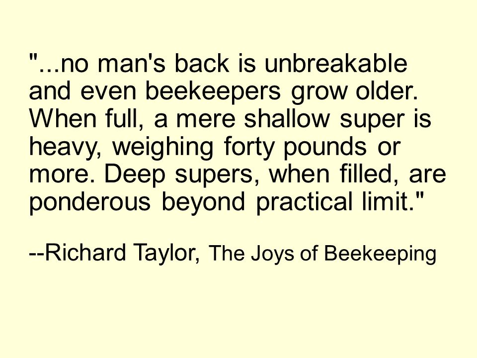 . no man s back is unbreakable and even beekeepers grow older