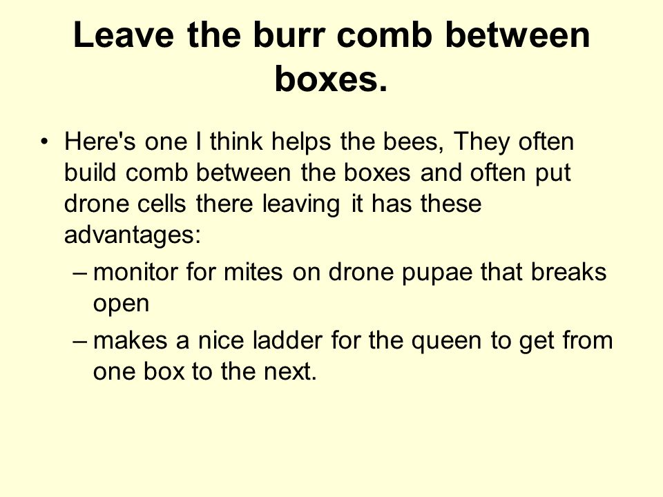 Leave the burr comb between boxes.