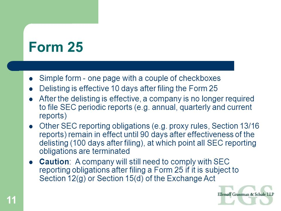 Form 25 Simple form - one page with a couple of checkboxes