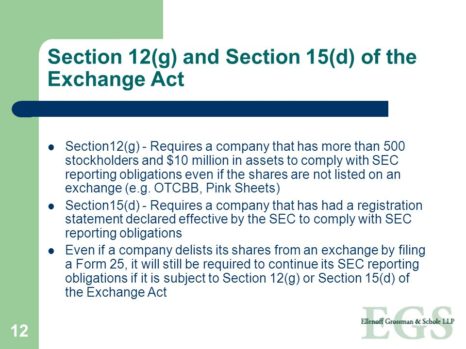 Section 12(g) and Section 15(d) of the Exchange Act