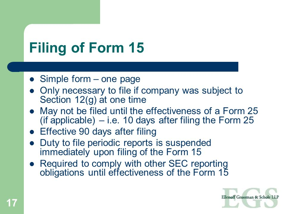 Filing of Form 15 Simple form – one page