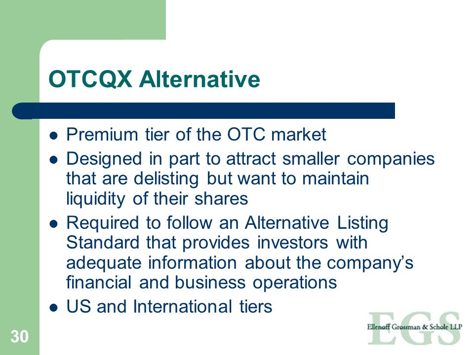 OTCQX Alternative Premium tier of the OTC market