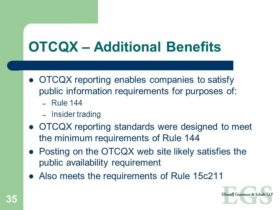 OTCQX – Additional Benefits
