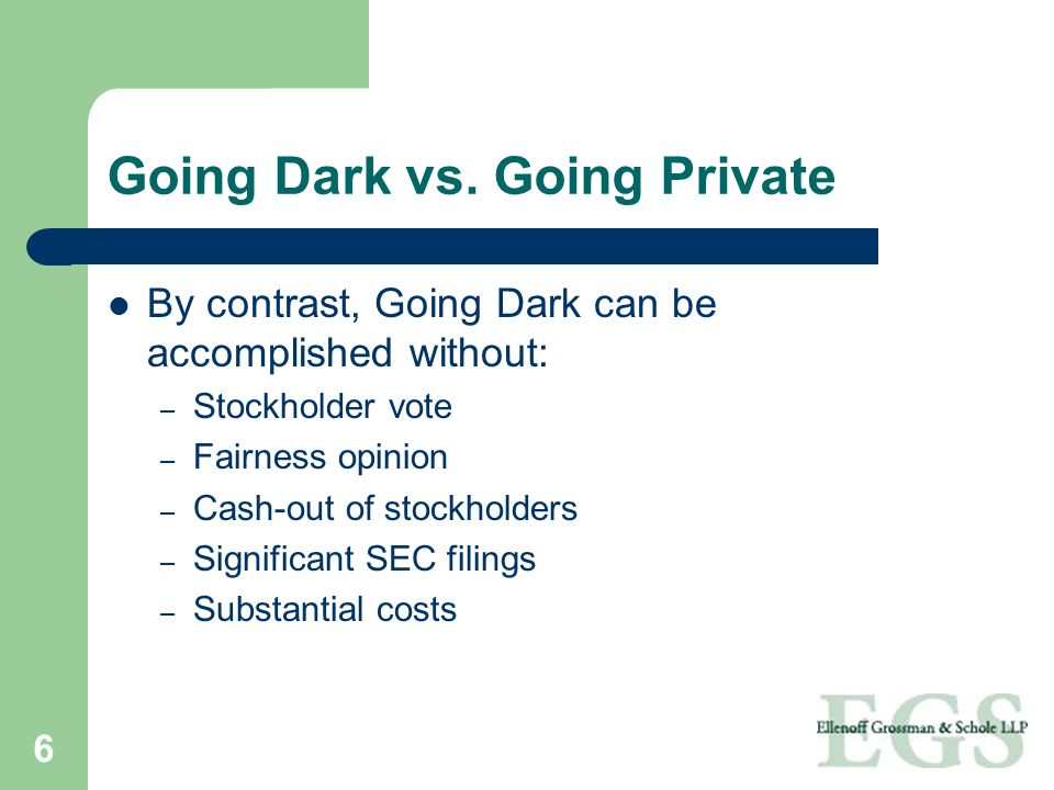 Going Dark vs. Going Private