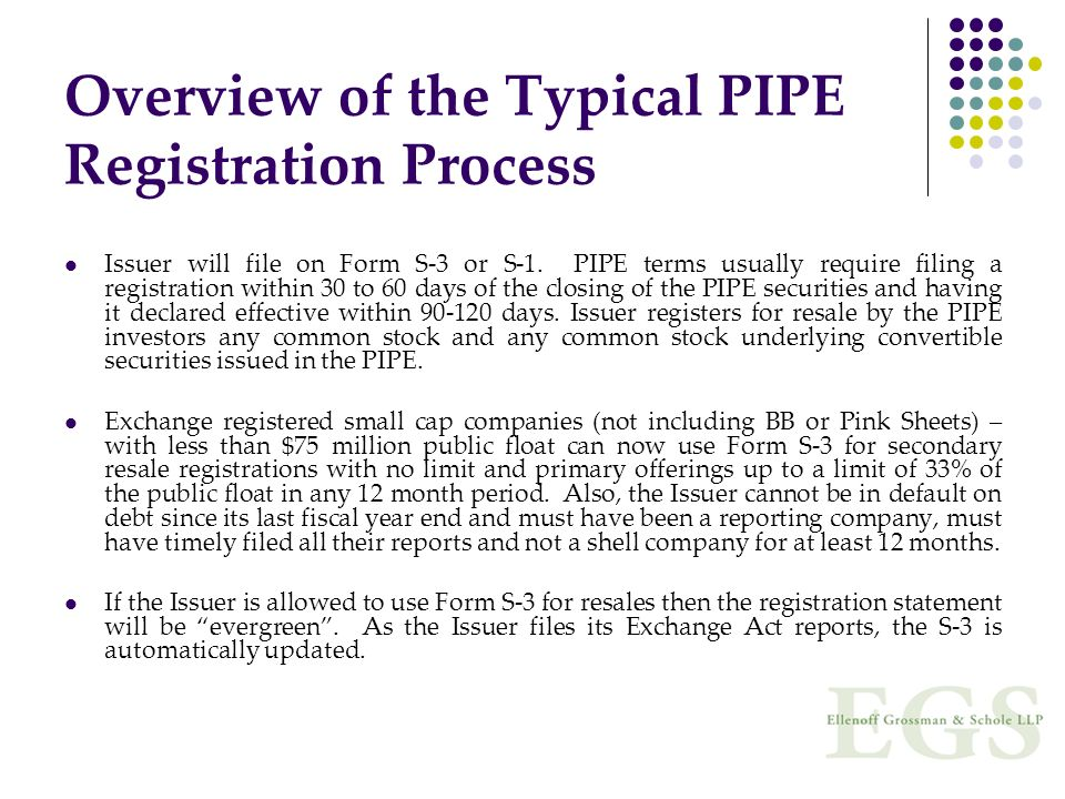 Overview of the Typical PIPE Registration Process