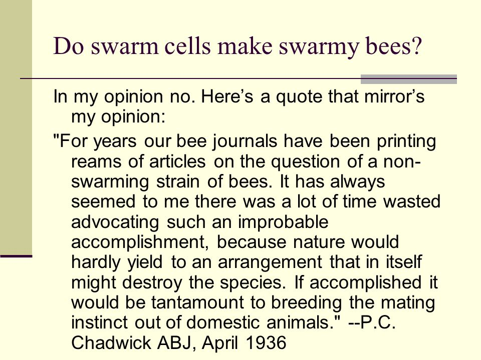 Do swarm cells make swarmy bees
