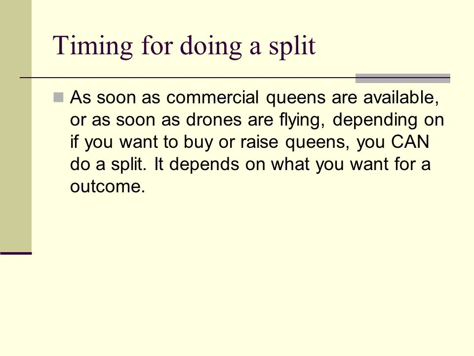 Timing for doing a split