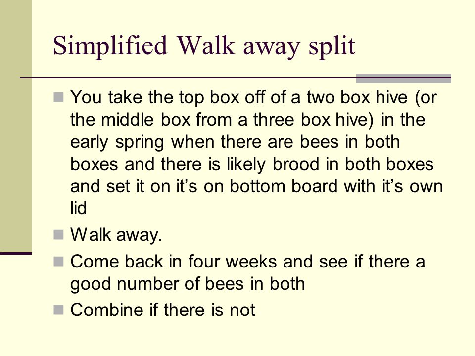Simplified Walk away split