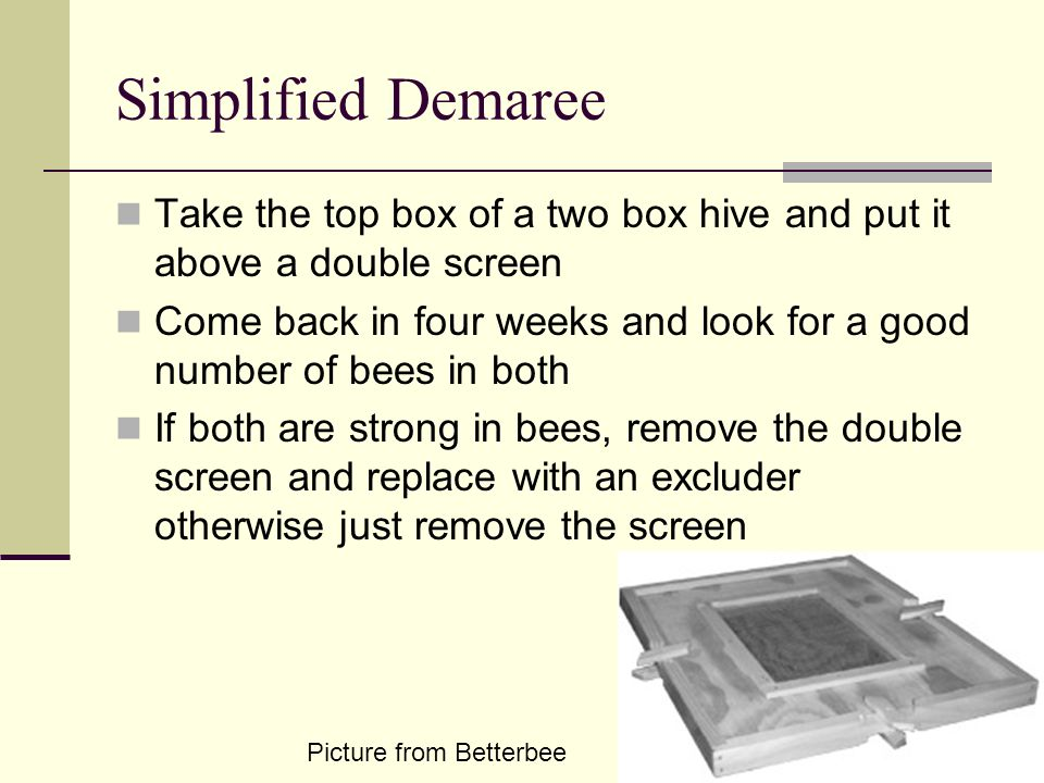 Simplified Demaree Take the top box of a two box hive and put it above a double screen.