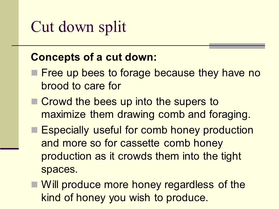 Cut down split Concepts of a cut down: