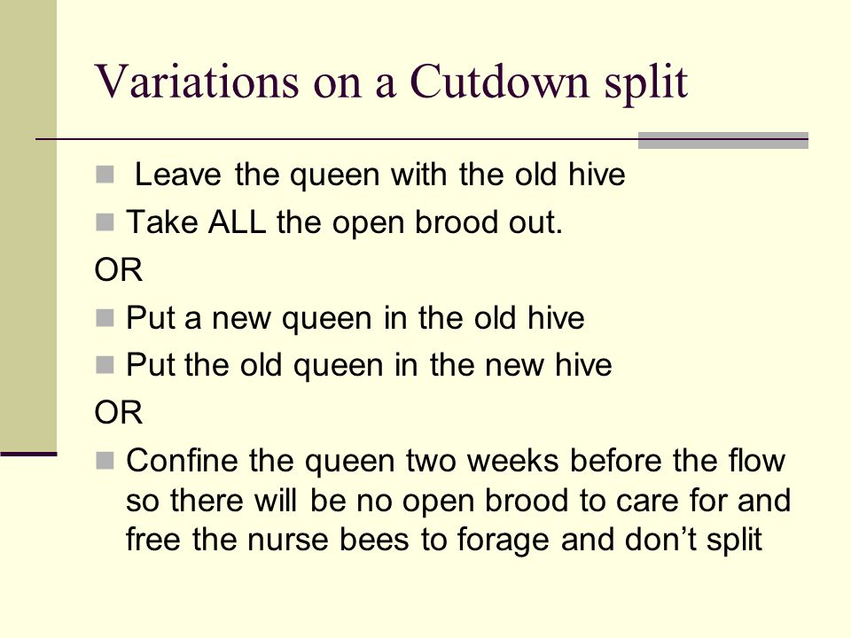 Variations on a Cutdown split