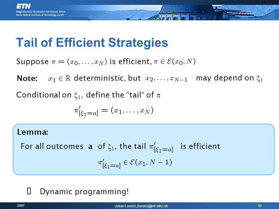 Tail of Efficient Strategies