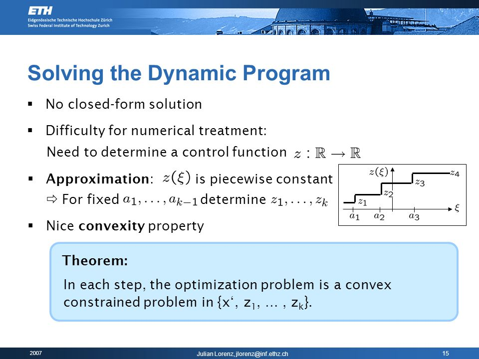 Solving the Dynamic Program