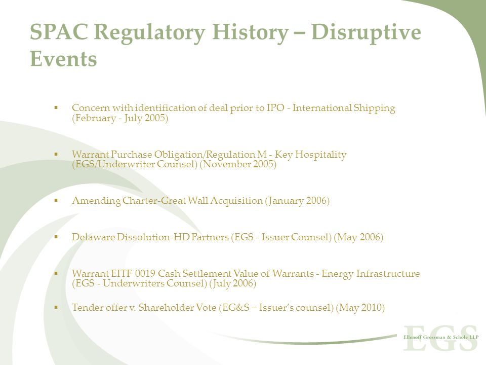 SPAC Regulatory History – Disruptive Events