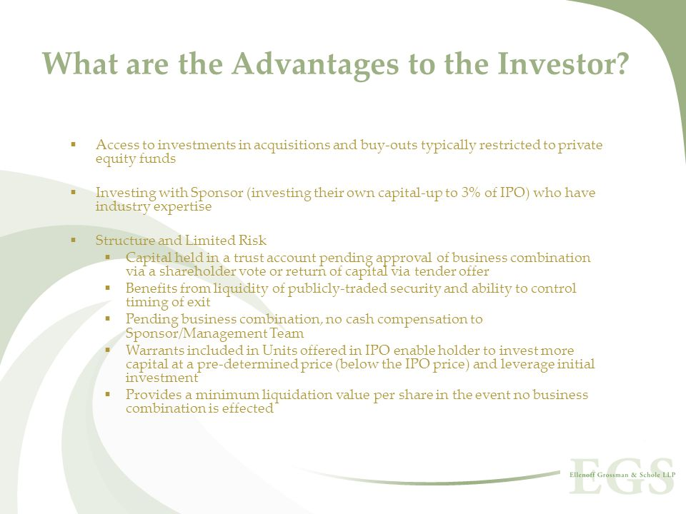 What are the Advantages to the Investor