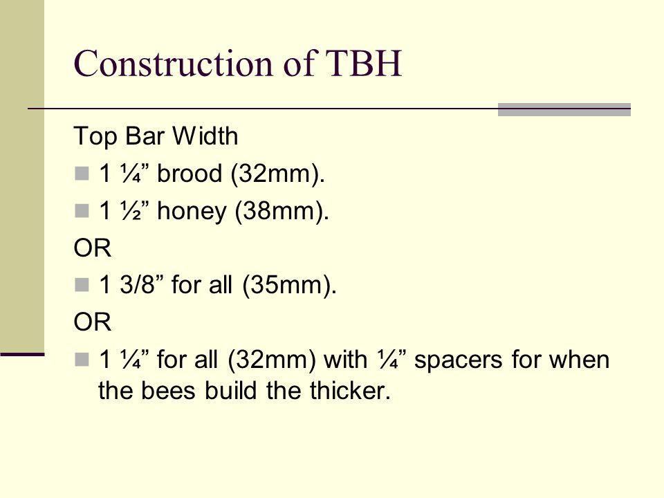 Construction of TBH Top Bar Width 1 ¼ brood (32mm).