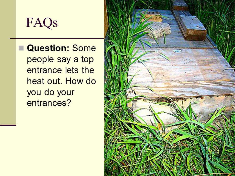 FAQs Question: Some people say a top entrance lets the heat out. How do you do your entrances