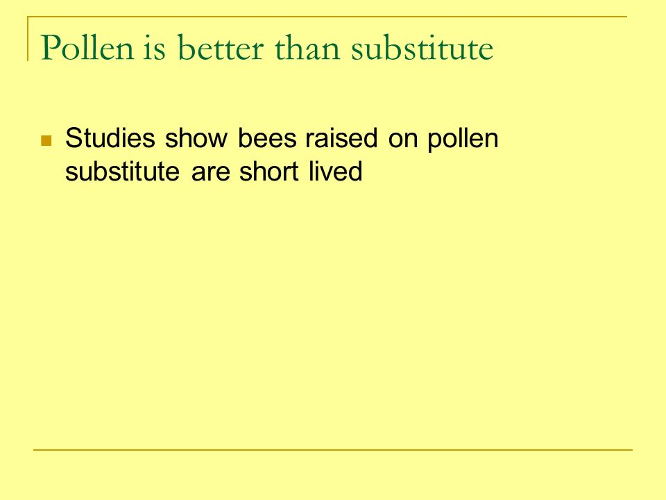 Pollen is better than substitute