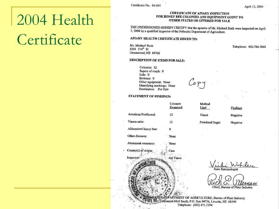 2004 Health Certificate