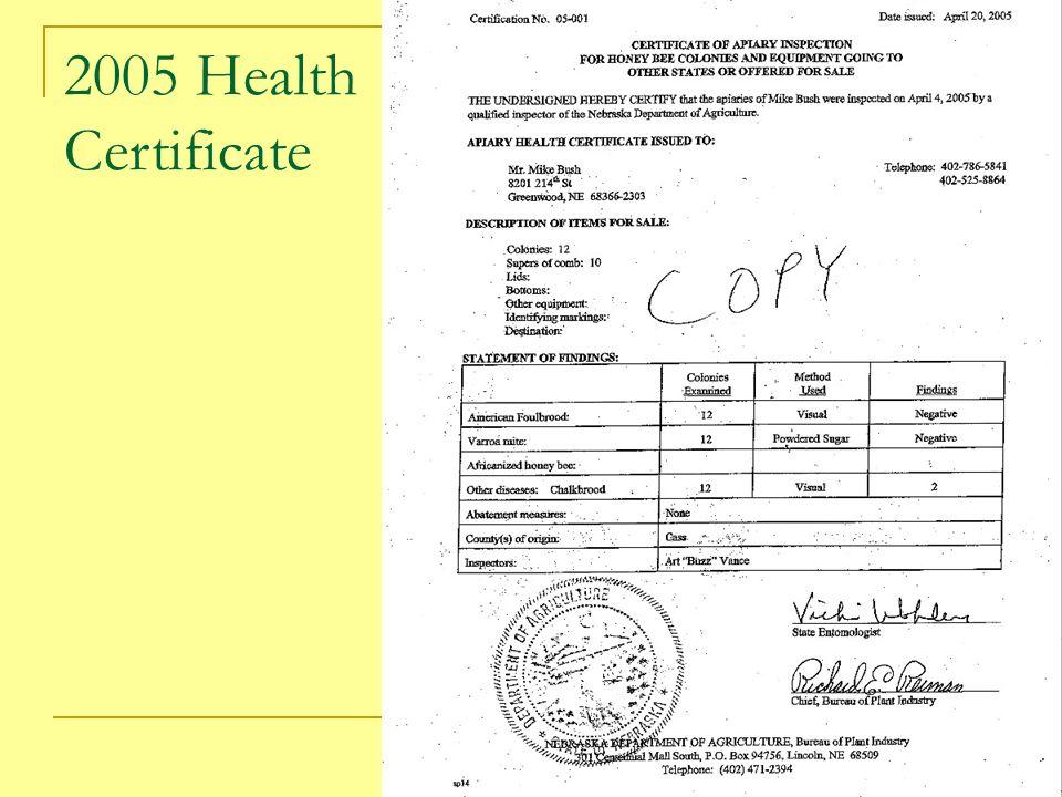 2005 Health Certificate