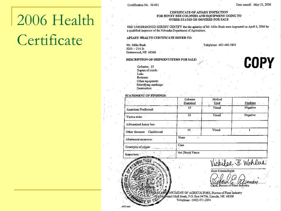 2006 Health Certificate