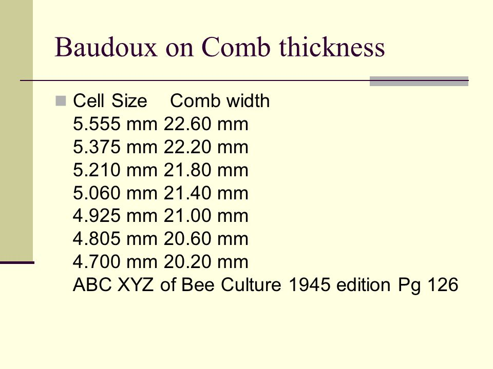 Baudoux on Comb thickness