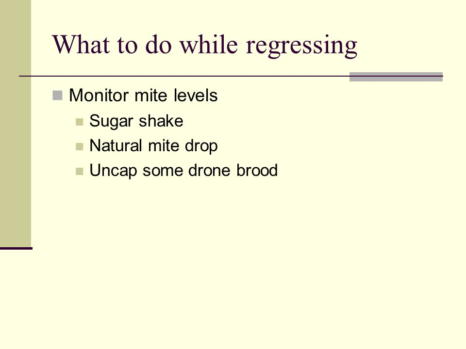 What to do while regressing