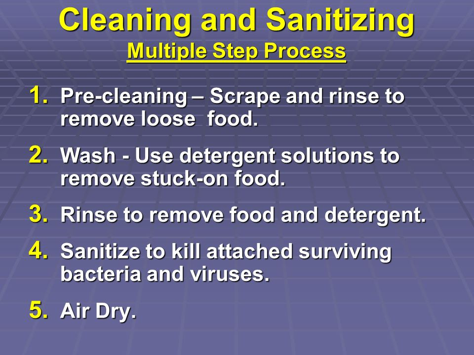 Cleaning and Sanitizing Multiple Step Process