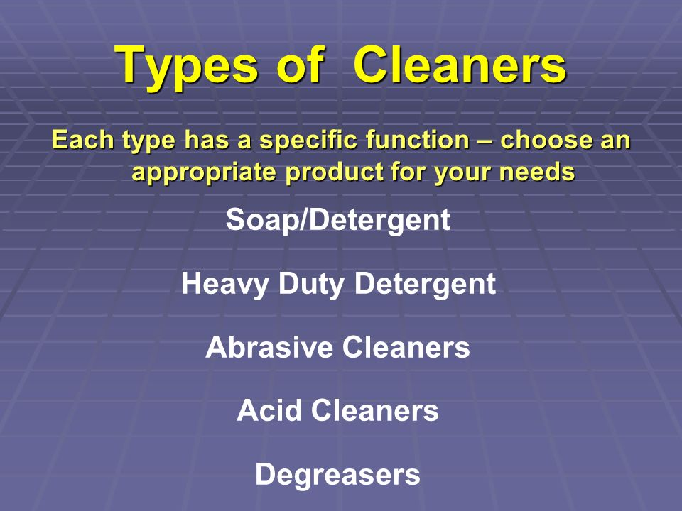 Types of Cleaners Soap/Detergent Heavy Duty Detergent