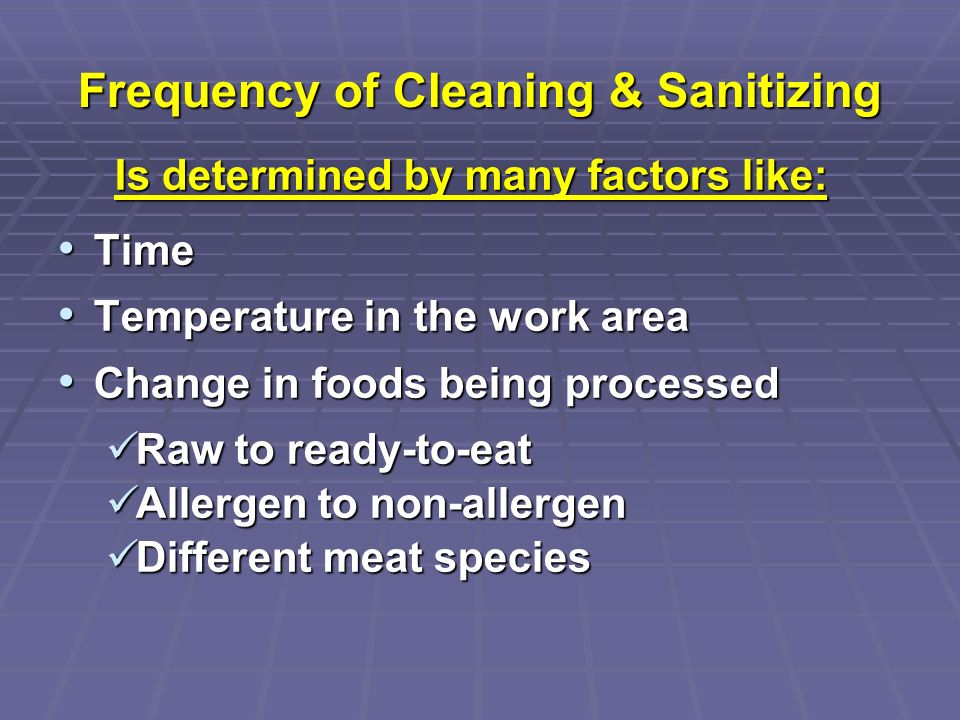 Frequency of Cleaning & Sanitizing