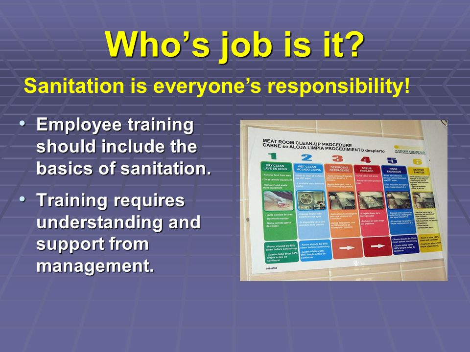 Who's job is it Sanitation is everyone's responsibility!
