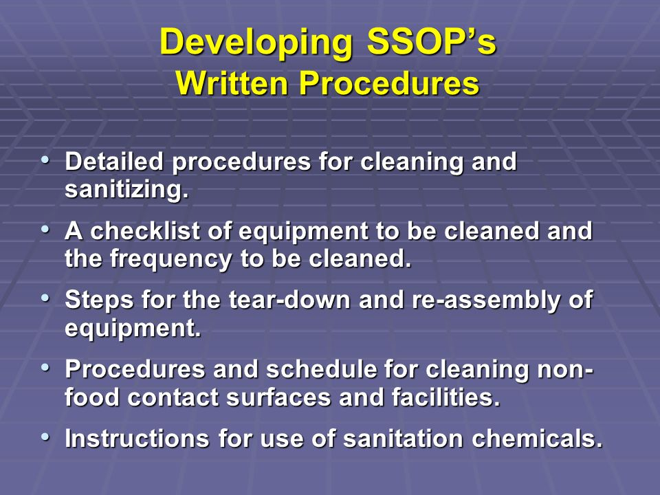 Developing SSOP's Written Procedures
