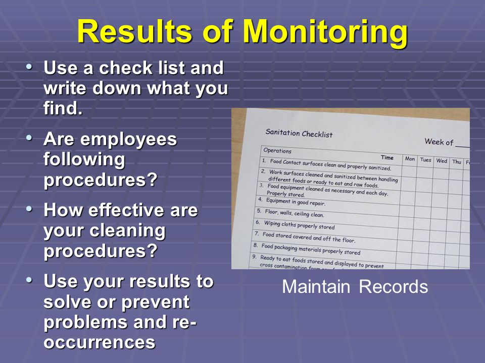 Results of Monitoring Use a check list and write down what you find.