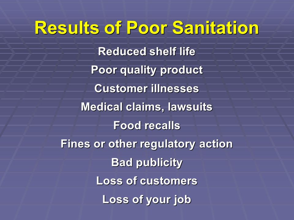 Results of Poor Sanitation