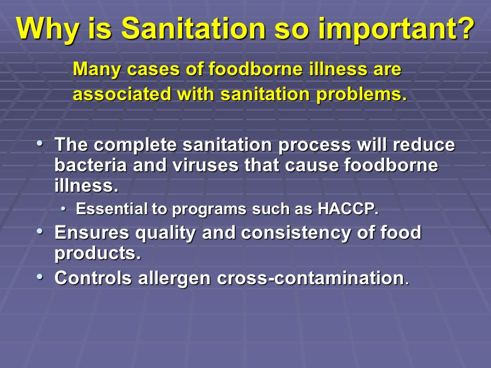 Why is Sanitation so important